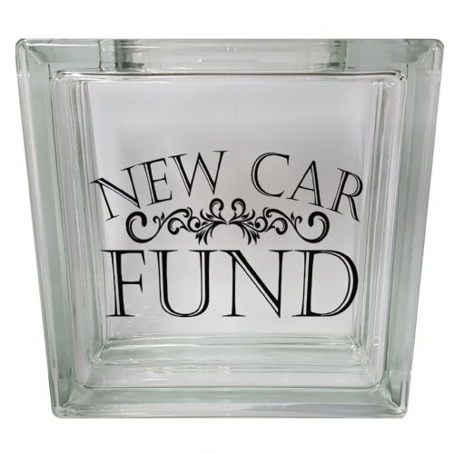 New Car Fund Clear View Decoration Glass Block Money Box